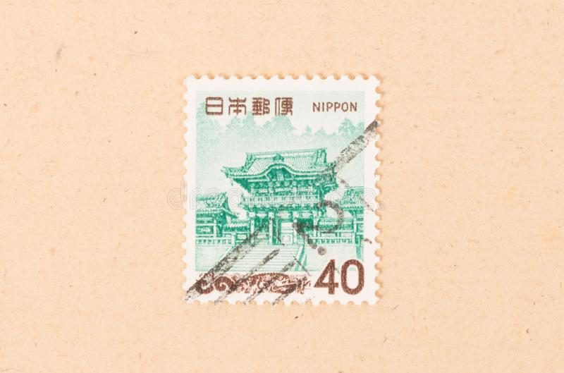 A stamp printed in Japan shows an old building, circa 1980 royalty free stock photo