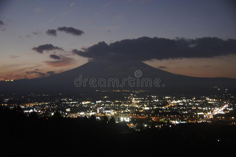Japan. the city of Gotemba at night. stock images