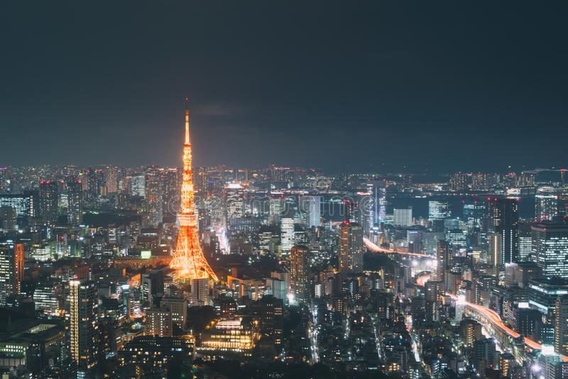 Japan cityscape at dusk. Landscape of Tokyo business building around Tokyo tower. Modern high building in business district area stock photography