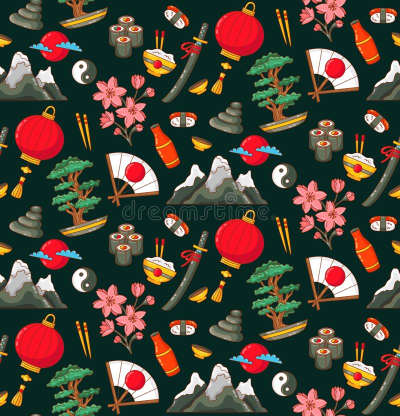 Japan doodles seamless vector pattern royalty free illustration