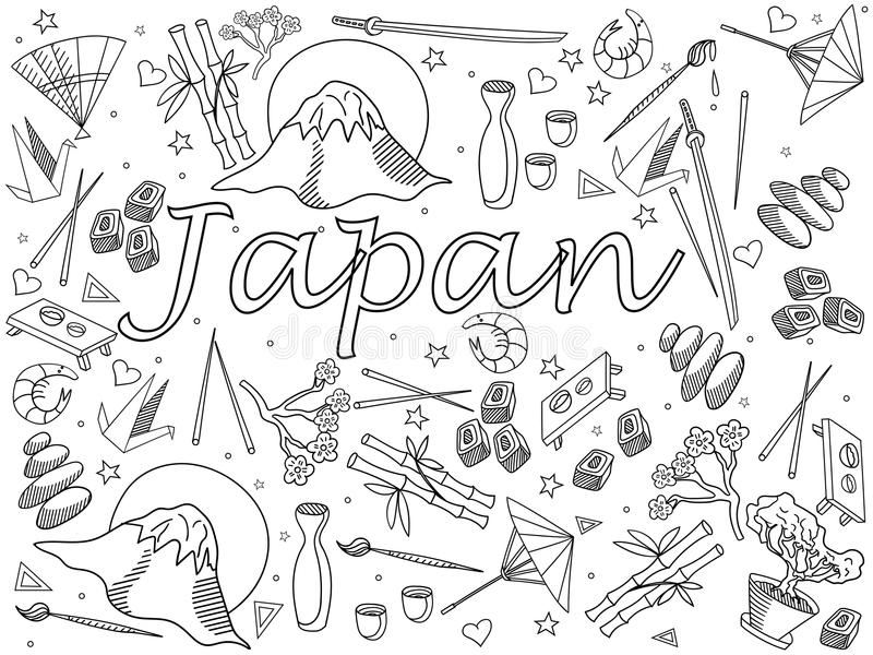 download japan coloring book vector illustration stock vector image 70073728 - Japanese Coloring Book
