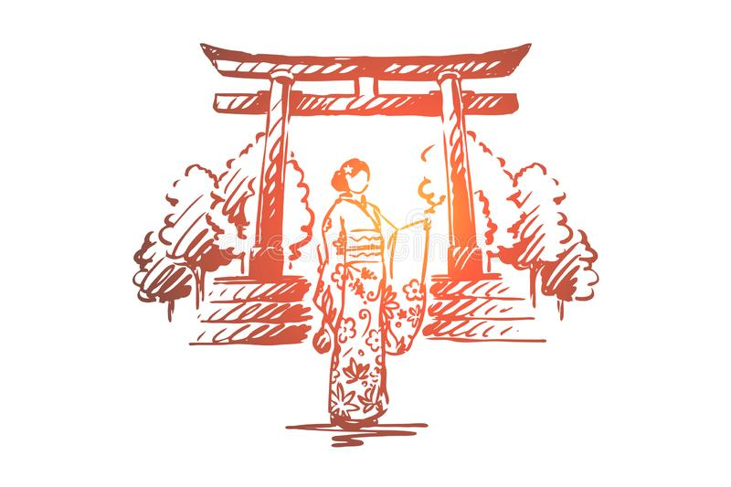 Japan, country, Sakura, traditional, Asia concept. Hand drawn isolated vector. stock illustration
