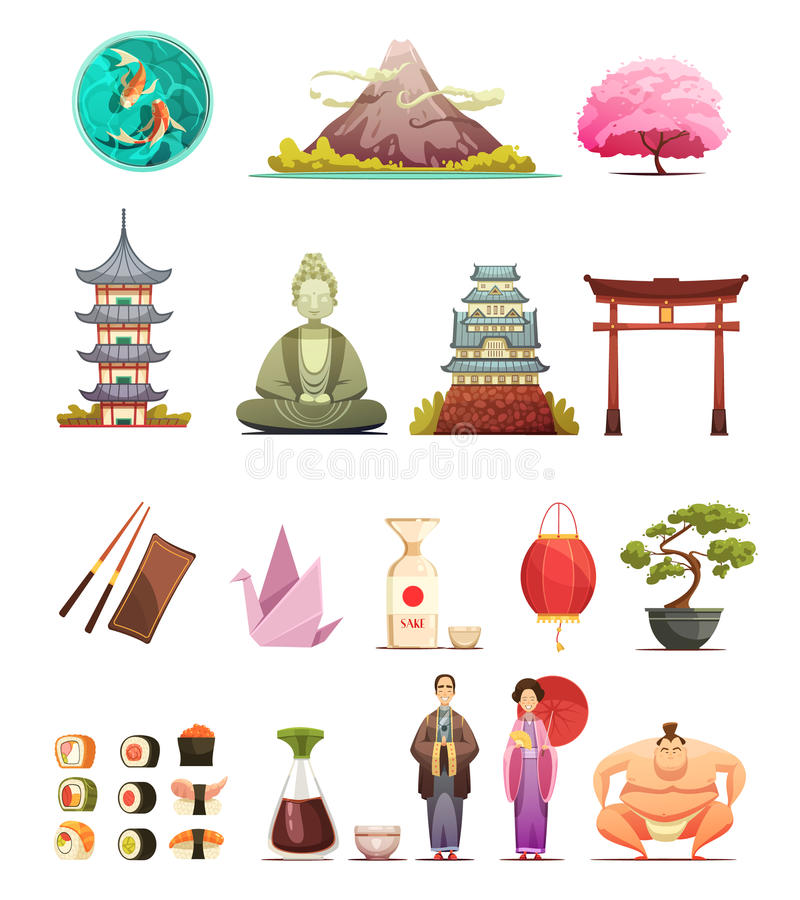 Japan Culture Retro Cartoon Icons Set vector illustration
