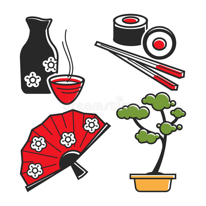 Japan culture symbols for travel and famous landmarks vector icons set. Japan culture symbols for travel and Japanese famous landmarks. Vector icons of geisha vector illustration