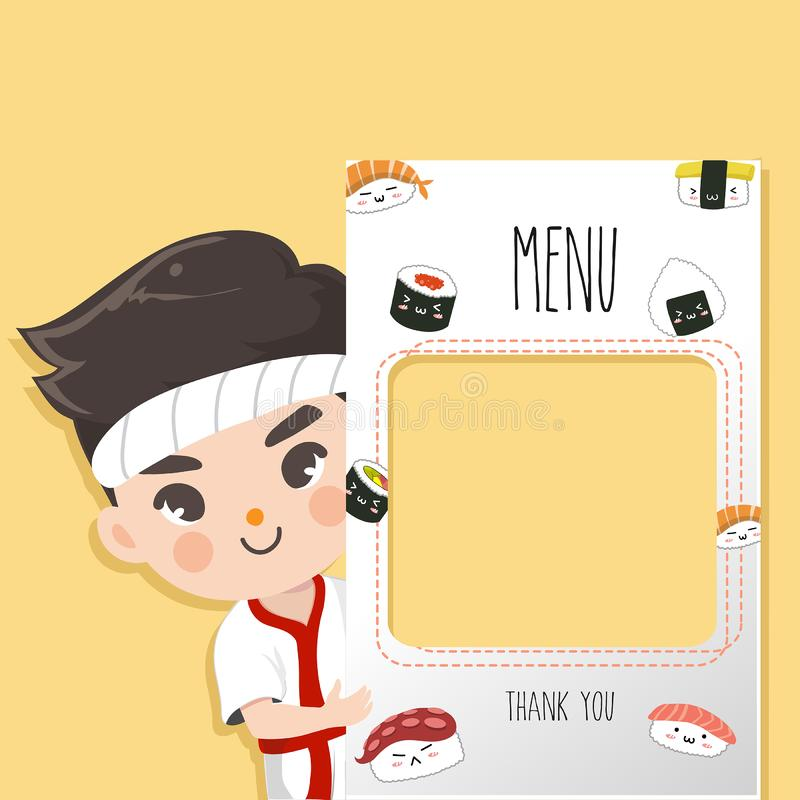 Japan cute chef  menu sushi smile. Japan chef recommends food menu.He is happy to have customers enjoy delicious sushi many style vector illustration