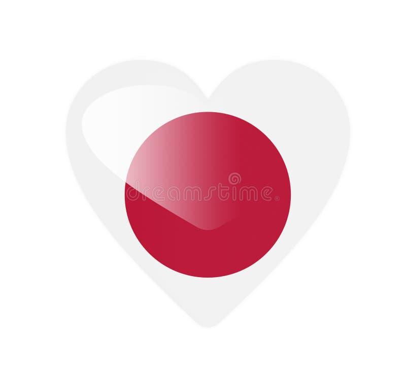 Japan 3D heart shaped flag royalty free illustration