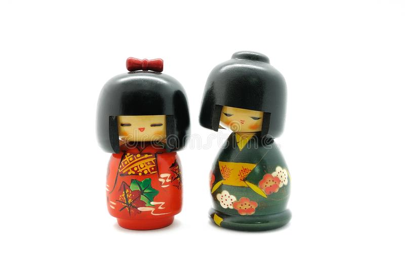 Japan doll. Wooden doll made in japan, touristic Souvenir stock photos