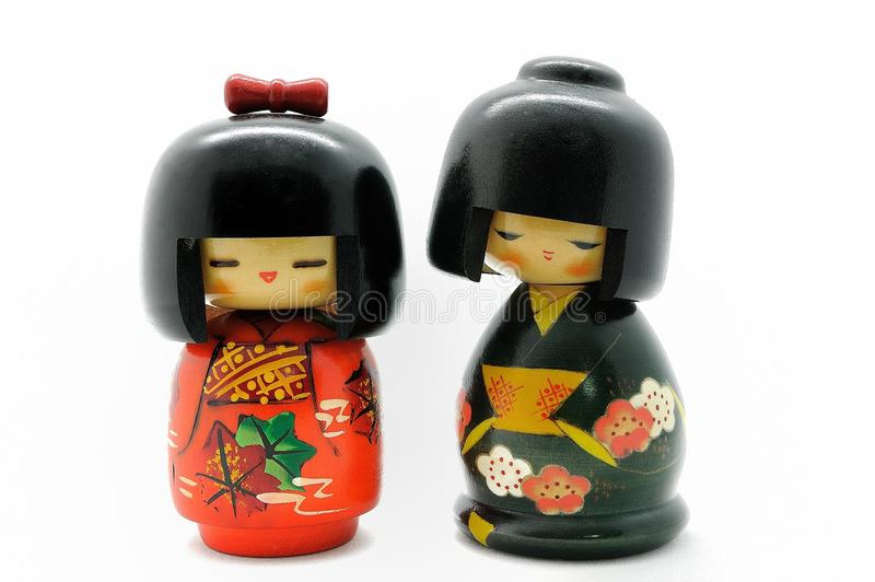 Japan doll. Wooden doll made in japan, touristic Souvenir royalty free stock photo