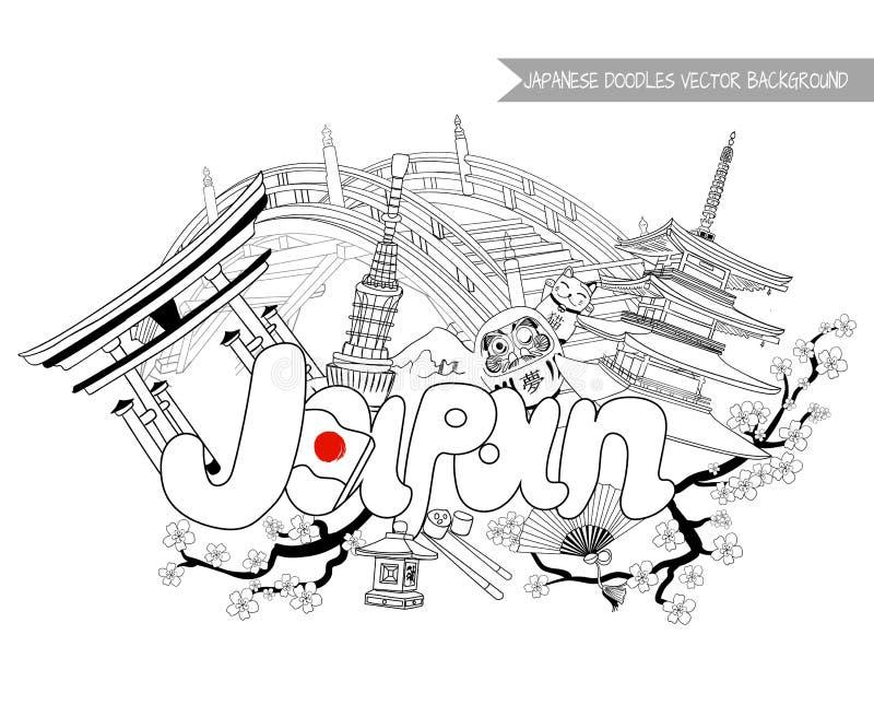 JAPAN doodle background, VECTOR illustration vector illustration