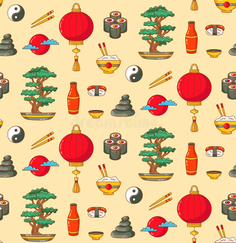 Japan doodle icons seamless vector pattern. Japan doodle colorful icons sushi bonsai tree lantern seamless vector pattern royalty free illustration