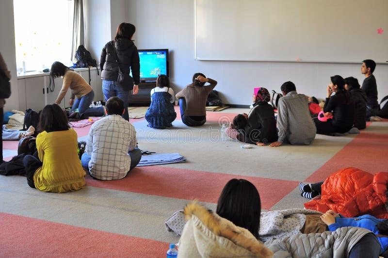 Japan earthquake relief centre. stock photos