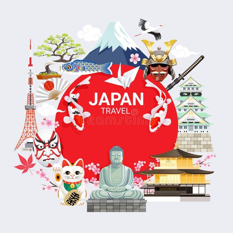 Japan famous landmarks travel background with tokyo tower, fuji mountain, shrine, castle, temple, sakura stock illustration
