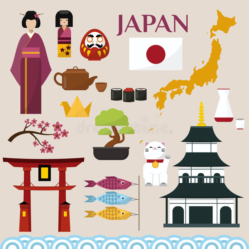 Japan famouse cultiveert architectuurgebouwen en de Japanse traditionele illustratie van voedsel vectorpictogrammen van reisvakan royalty-vrije illustratie