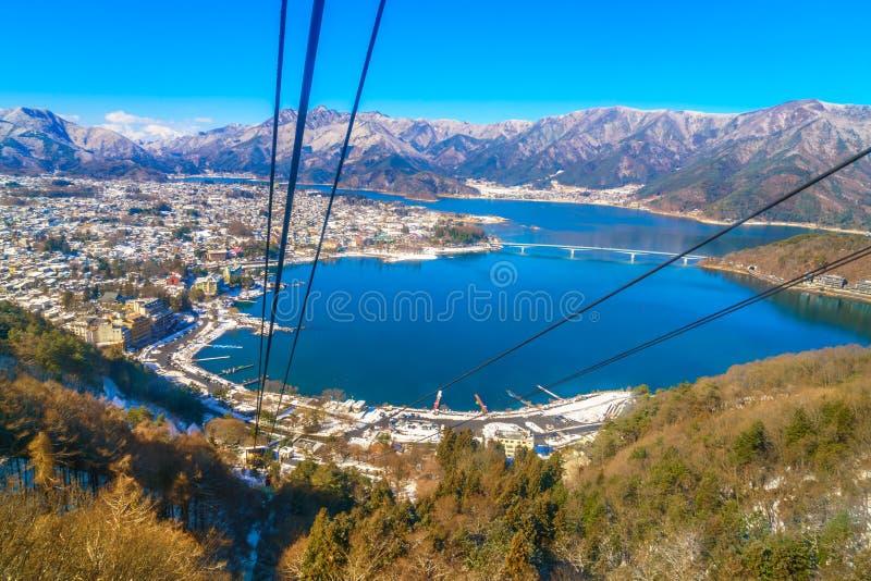 .JAPAN - FEBRUARY 2, 2016: kawaguchiko lake from kachi ropeway stock photos