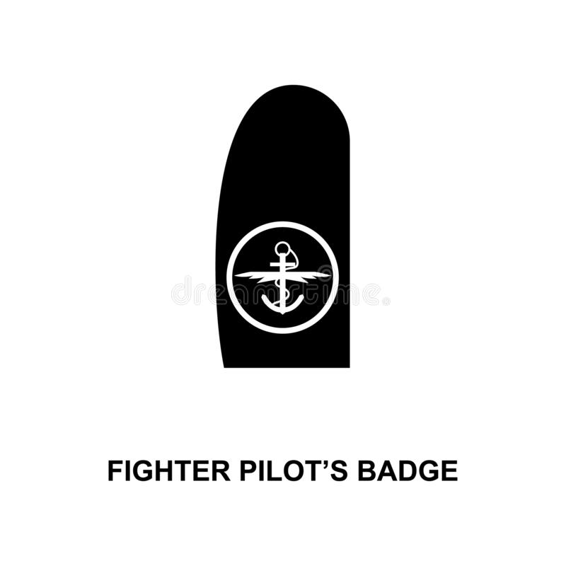 japan fighter pilot badge military ranks and insignia glyph icon stock illustration