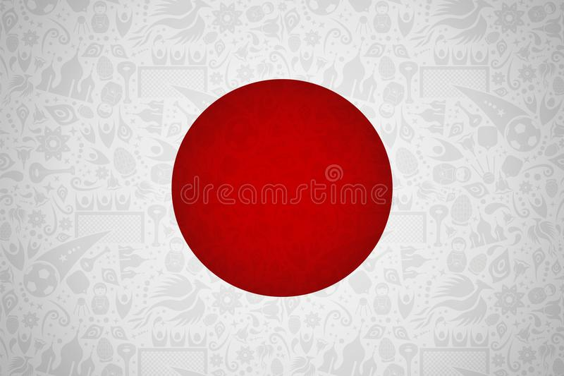 Japan Flag Background For Russian Soccer Event Stock Vector