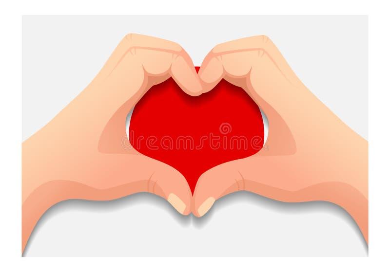 Japan flag and hand heart shape stock illustration