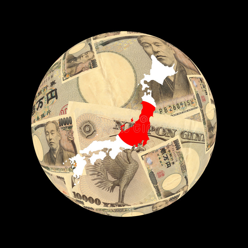Japan flag map on currency royalty free illustration