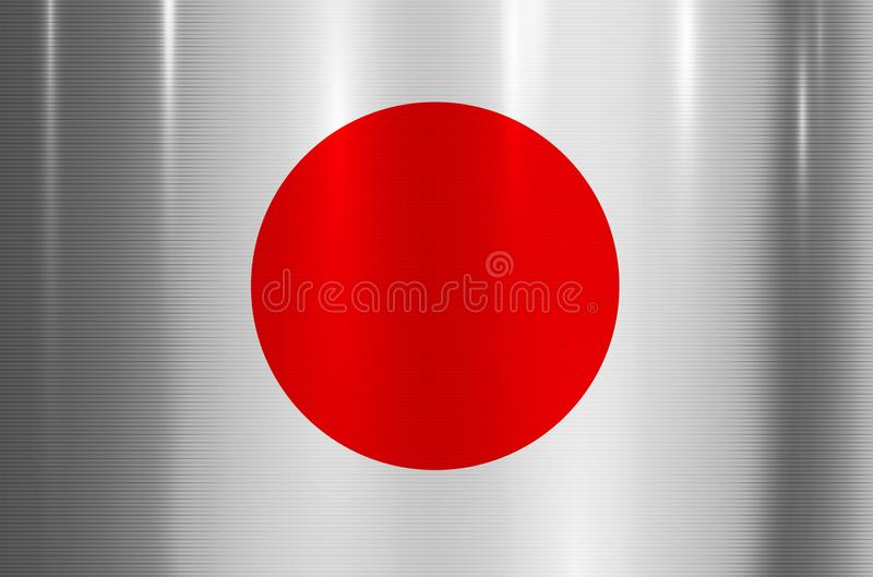 Japan Flag Metallic Texture Abstract Background Stock Vector