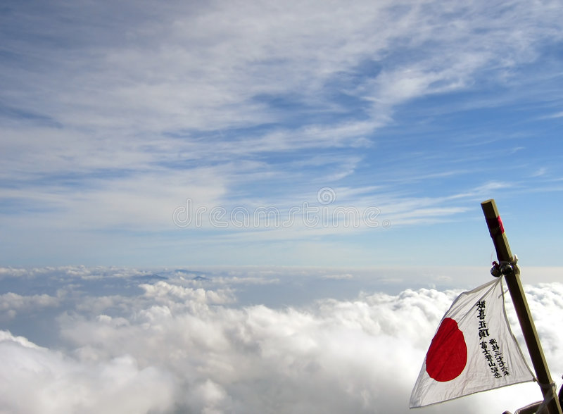 Download Japan flag on Mount Fuji stock photo. Image of hike, nation - 14378