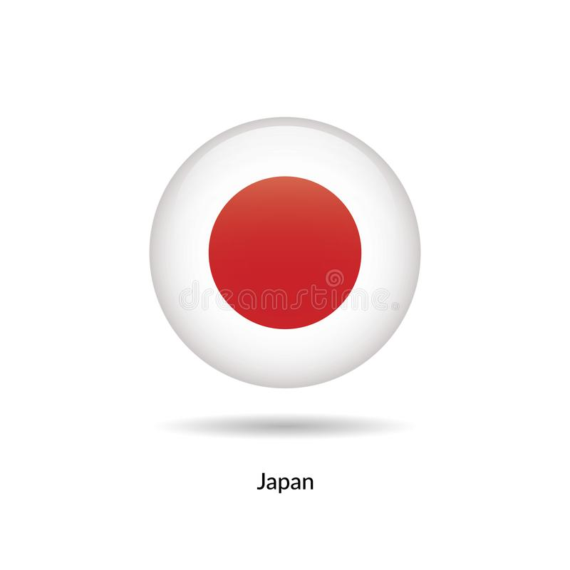 Japan flag - round glossy vector illustration
