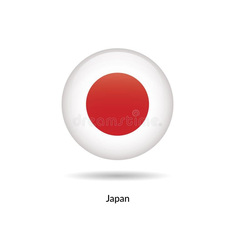 Japan flagga - runt glansigt vektor illustrationer