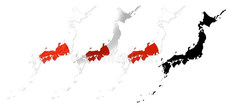 Japan-Flagge über Kartencollage vektor abbildung