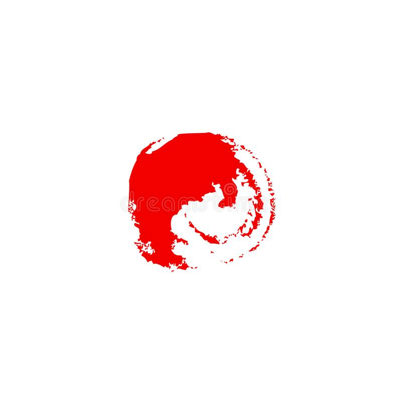 Japan-Flagge gemalt durch Bürstenhandfarben Kunstflagge Aquarell Japan stockbilder