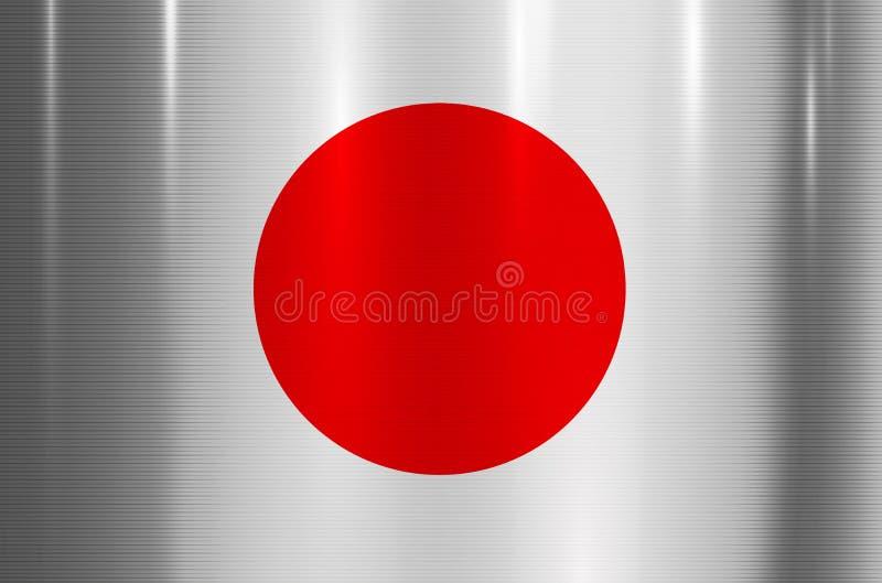 Japan-Flaggen-metallischer Beschaffenheits-Zusammenfassungs-Hintergrund lizenzfreie abbildung