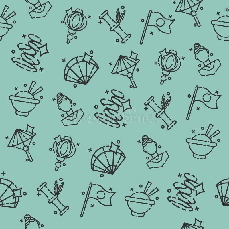 Japan Flat Icons Pattern royalty free illustration
