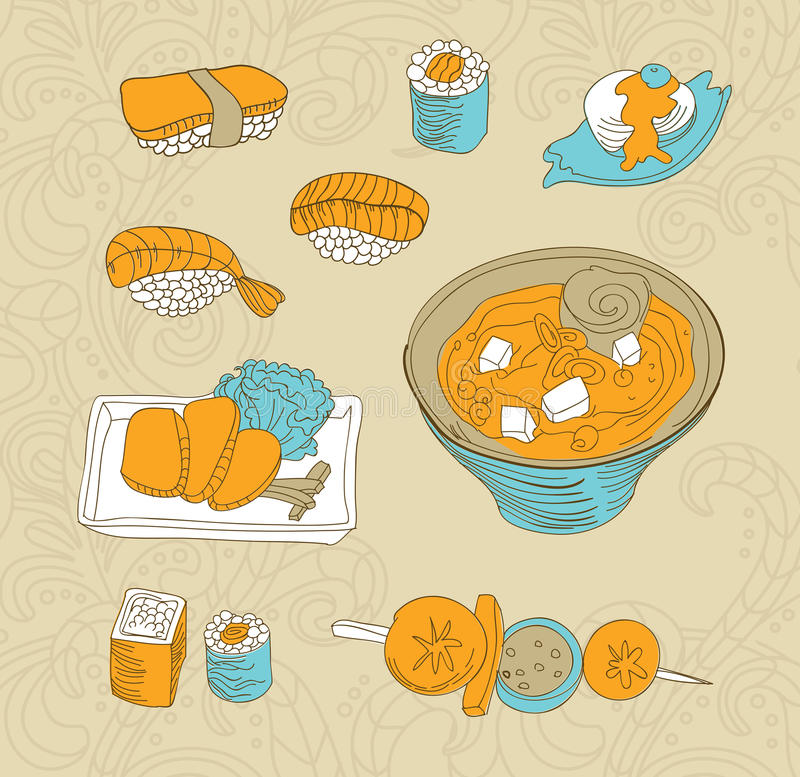 Download Japan food icons stock illustration. Image of menu, sashimi - 23252292