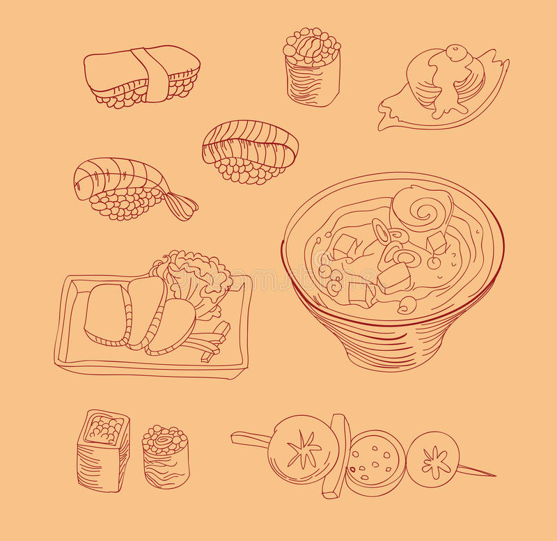 Download Japan food icons stock illustration. Image of fish, outline - 23252309