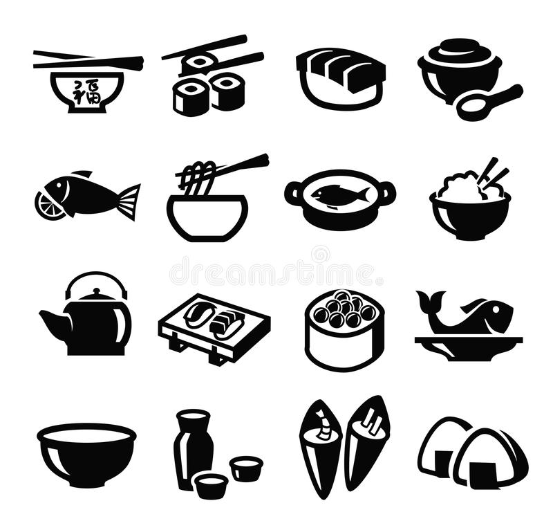 Japan food icons royalty free illustration