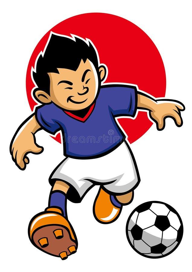 Japan fotbollspelare med flaggabakgrund royaltyfri illustrationer
