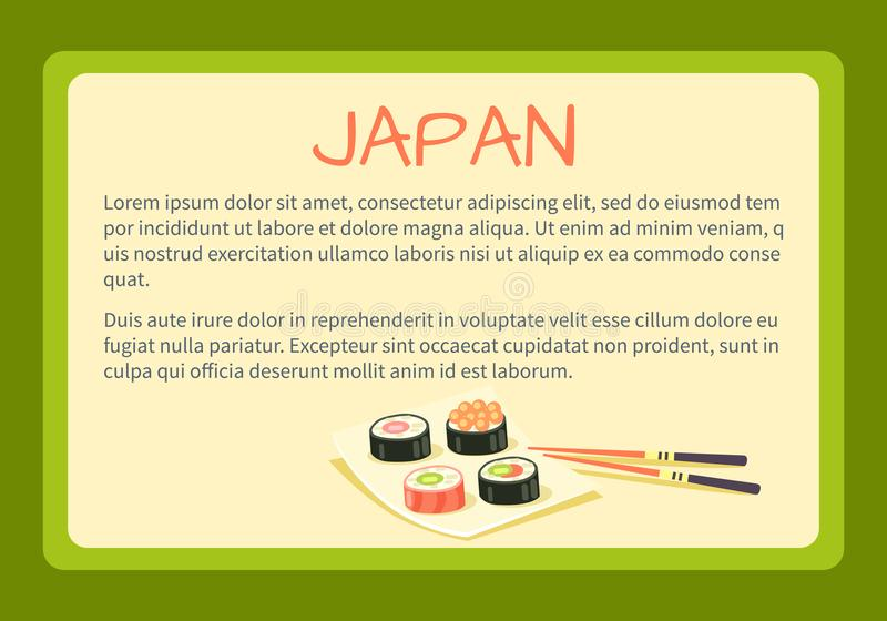 Japan Framed Vector Touristic Banner with Text. Japan framed touristic banner with national symbol and sample text. Sushi rolls on square plate with bamboo vector illustration