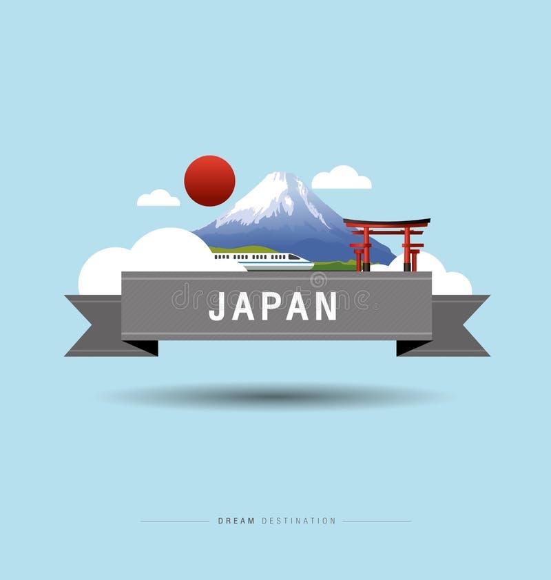 Japan, Fuji Mountain, travel, Landmark royalty free illustration