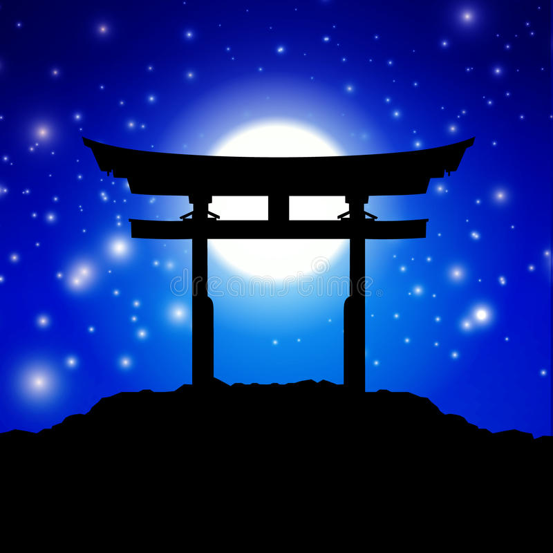Japan gate. In midnight with moon stock illustration
