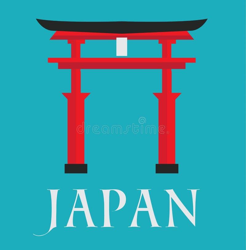 Japan gate card text flat design. Illustration background vector stock vector illustration