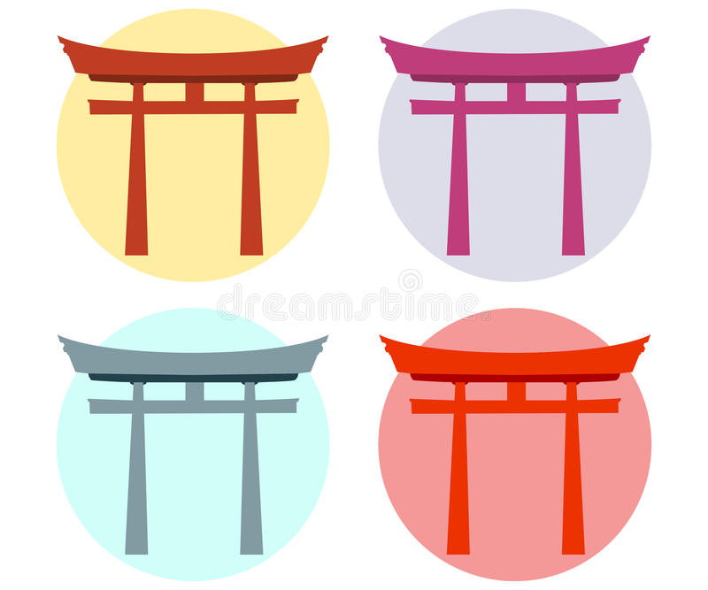 Japan Gate Torii Gate Flat Shinto Stock Vector Illustration Of