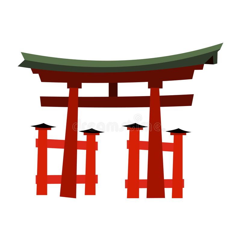 Japan Gate - Torii gate. In flat style vector illustration