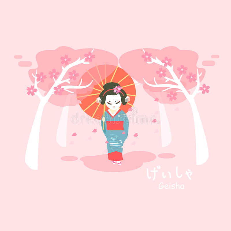Japan geisha with sakura stock illustration