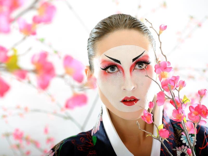 Japan Geisha Woman With Creative Make-up Royalty Free Stock Images