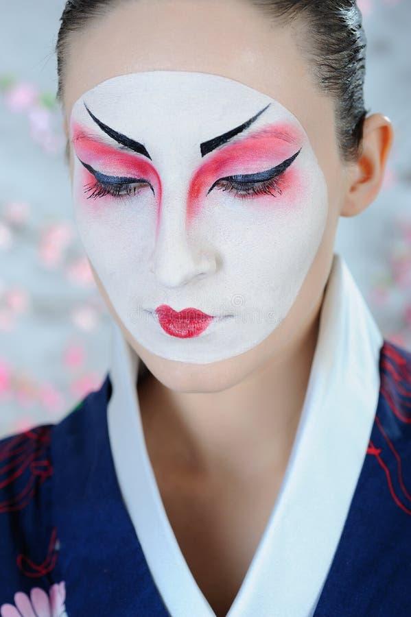 Japan Geisha Woman With Creative Make-up Royalty Free Stock Image