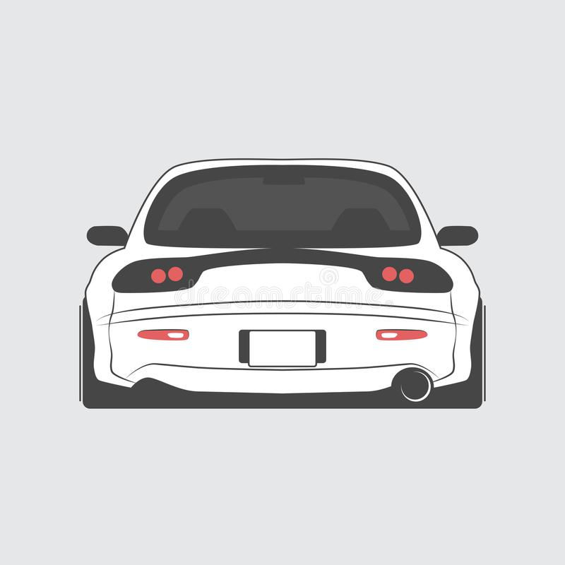 Japan gestemde geïsoleerde auto Achter mening Vector illustratie stock illustratie