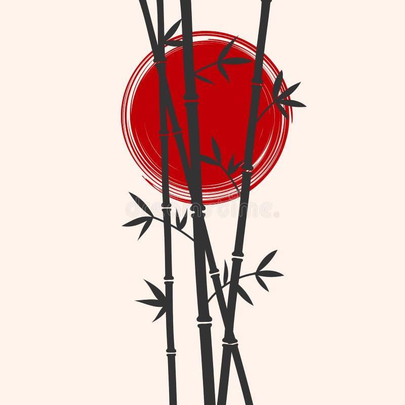 Japan gestileerd bamboe en rode zonsilhouetten Vlakke vectorillustratie royalty-vrije illustratie