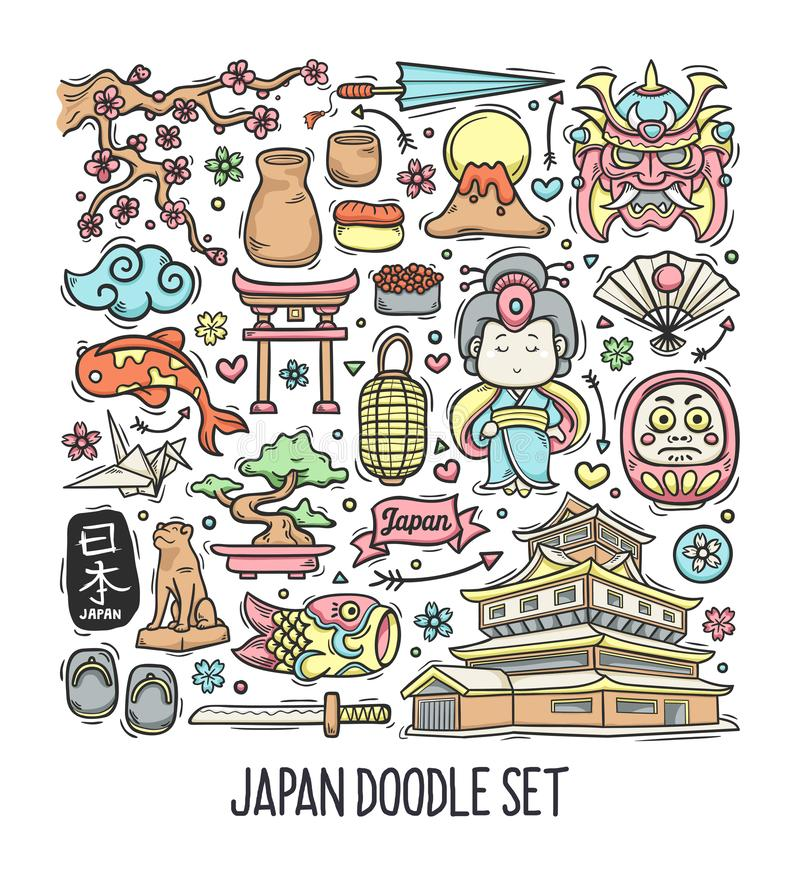 Japan Hand Drawn Doodle Colorful Vector royalty free stock image