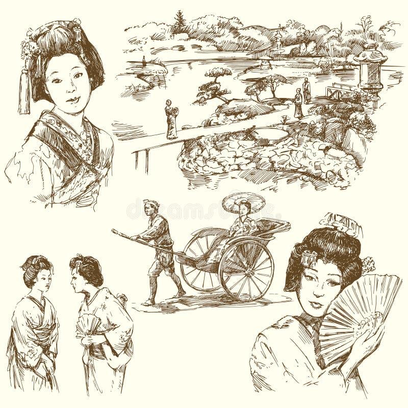 Japan - hand getrokken reeks vector illustratie