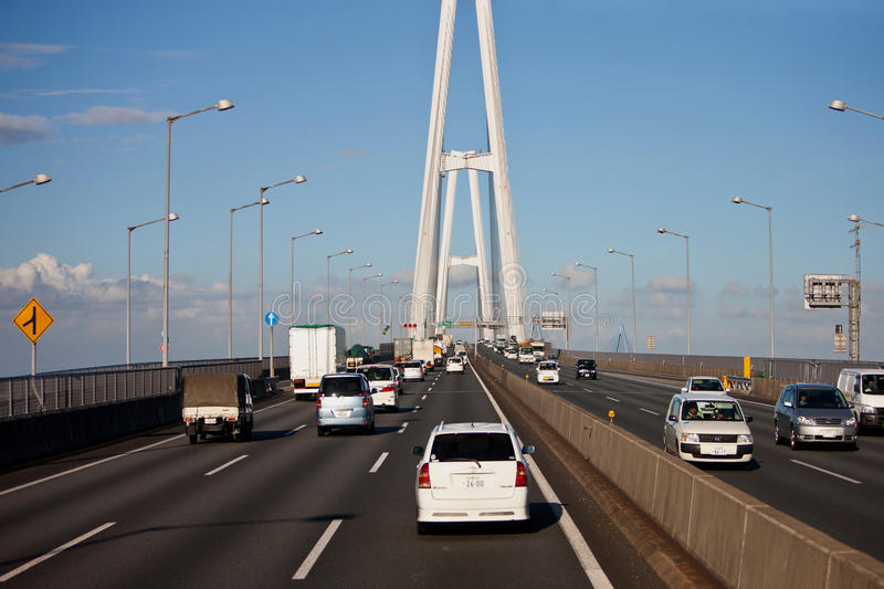 Japan Highway viaduct. Into the design of the landscape and the natural harmony, priority was given to the natural and social environment impact assessment and stock images