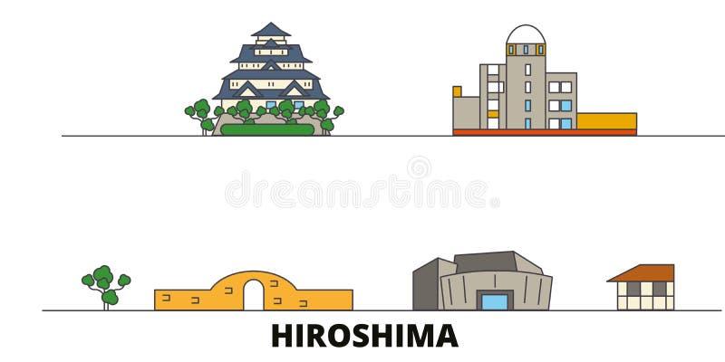 Japan, Hiroshima flat landmarks vector illustration. Japan, Hiroshima line city with famous travel sights, skyline. Japan, Hiroshima flat landmarks vector royalty free illustration