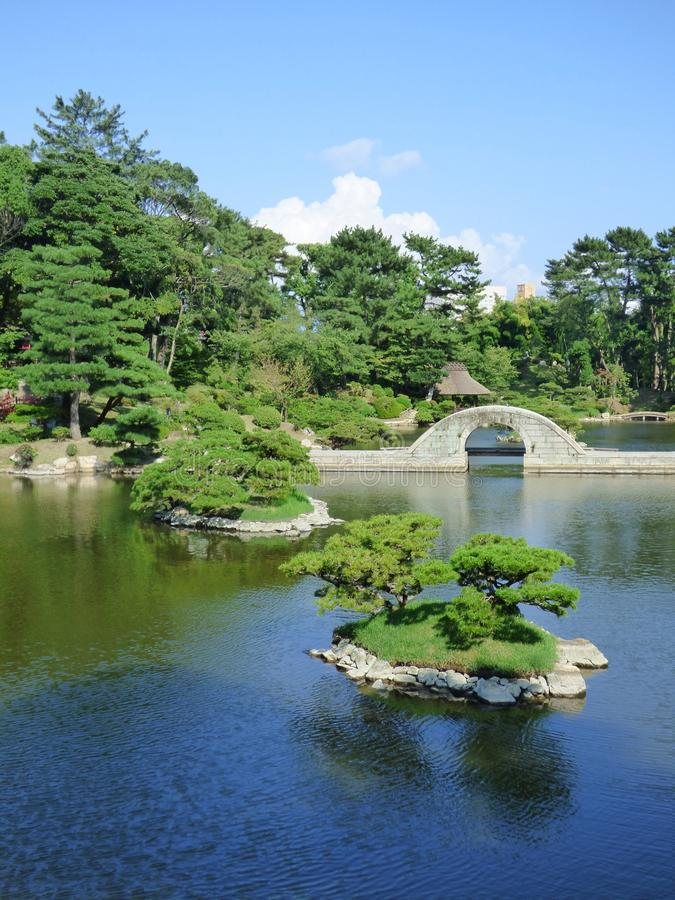 JAPAN. Hiroshima. Shukkei-en Garden. Shukkei literally means `close-up view`: a clever game of perspectives that allows you to represent large natural panoramas stock photo